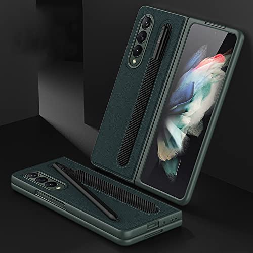 for Samsung Galaxy Z Fold 3 5G Leather Flip Phone Case Cover with Pencil Holder (Green)