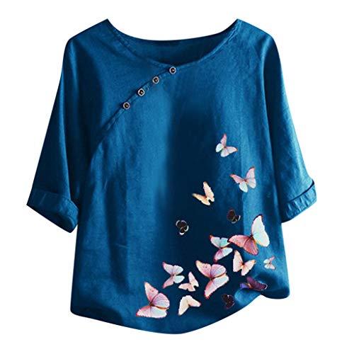 Damen Freizeit Leinen Baumwoll Bluse Klassisches Vintage T-Shirt Chinesisch Taste...