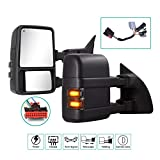 Towing Mirrors for 1999-2016 Ford F250 F350 F450 F550 Super Duty with Power Glass Turn Signal Light Running Lights Heated Extendable Pair (Smoke lens)