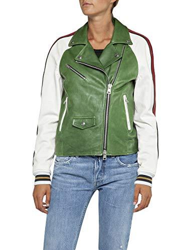 REPLAY W7518 .000.83056a Chaqueta, Multicolor (Green/White/Black 10), X-Small para Mujer