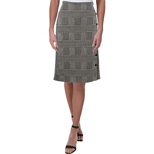 LAUREN RALPH LAUREN Womens Vebduss Houndstooth Midi Pencil Skirt Black-Ivory M