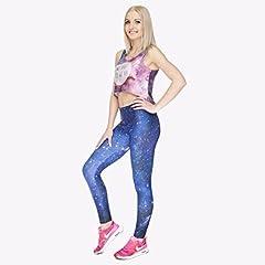 Kukubird Printed Patterns Women's Yoga Leggings Gym Fitness Running Pilates Tights Skinny Pants 8 to 12 Stretchable - Galaxy #5