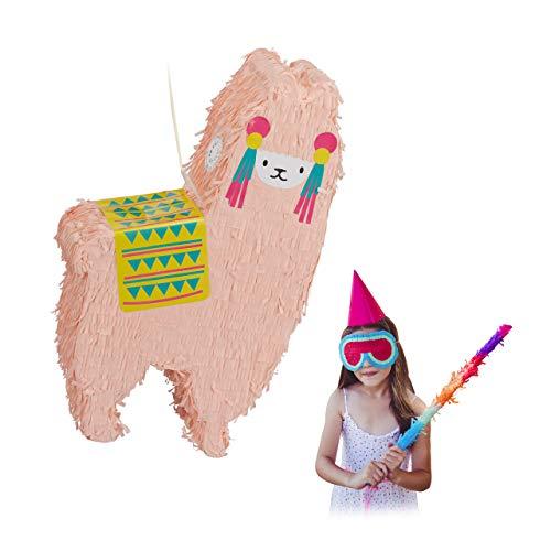 Relaxdays Lama Pinata, zum Aufhängen, Kinder, Jungen & Mädchen, Geburtstag, zum Befüllen, Pinata Alpaka, lachsfarben