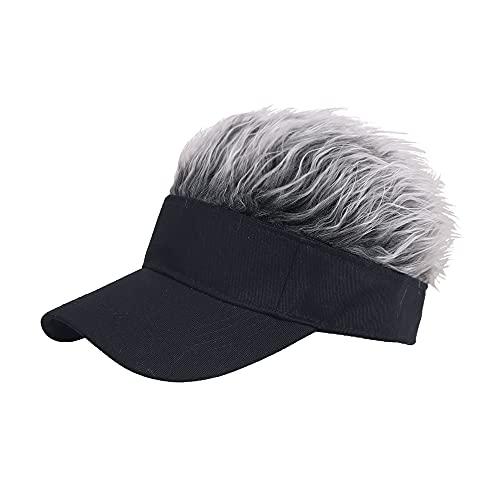 MIGOU Novelty Flair Hair Visor Sun Cap Wig Peaked Baseball Hat Novelty Adjustable Visor with Spiked Hair Black Grey, Medium