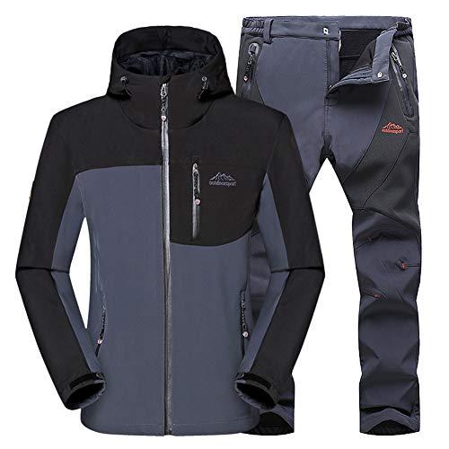 WANPUL - Completo da uomo in tessuto tecnico, giacca e pantaloni in softshell per attività all'aperto come trekking ed escursionismo grigio + grigio. S