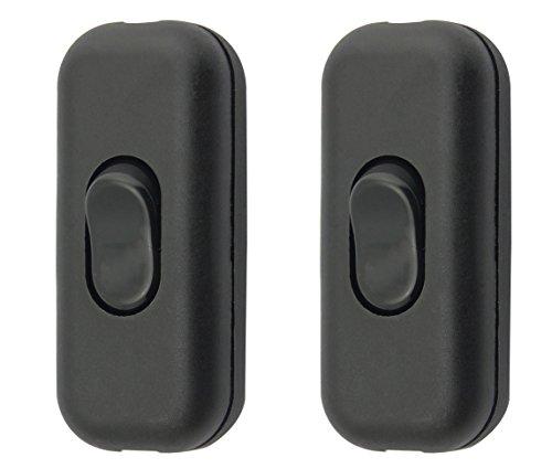 SFTlite Zwischenschalter / [2 Pack] Schwarzer Inline Schalter Verwenden Sie Inline 2 oder 3 Core Schnur zwischenschalter, Leuchtenschalter Light/Lampe Schalter