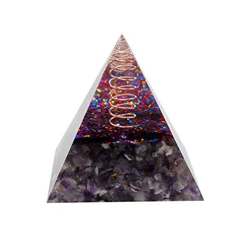 XIMIN TIREOW Leistungsstarke Orgonpyramide - DIY Natürliche Amethyst Natürliche Kristalle Steine mit Energieerzeuger Mit Kristallpunkt, Heilende Chakra Steine Quarz Pyramide Spielzeug (A)