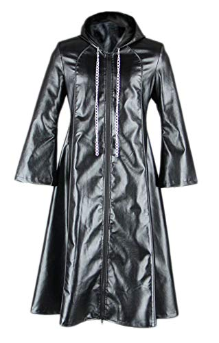 CHIUS Cosplay Costume Leather Cloak for Organization XIII Young Xehanort Ver 3 Black