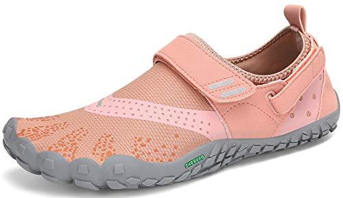 SAGUARO Mujer Minimalistas Zapatillas de Trail Running Ligeras y Respirable Zapatos Descalzos Gym Playa Calzado de Deportes Acuaticos para Asfalto Correr Senderismo, Naranja 39 EU