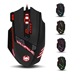 zelotes T90 Gaming Mouse 9200 DPI, 8 knoppen, multi-mode LED, USB gaming muis, gewicht tuning voor professionele gamers *