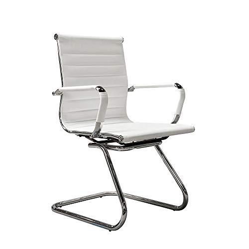 Vivol Konferenzstuhl Valencia PU Leder - Freischwinger stühle mit armlehne - Esszimmerstühle erhältlich (Weiß)