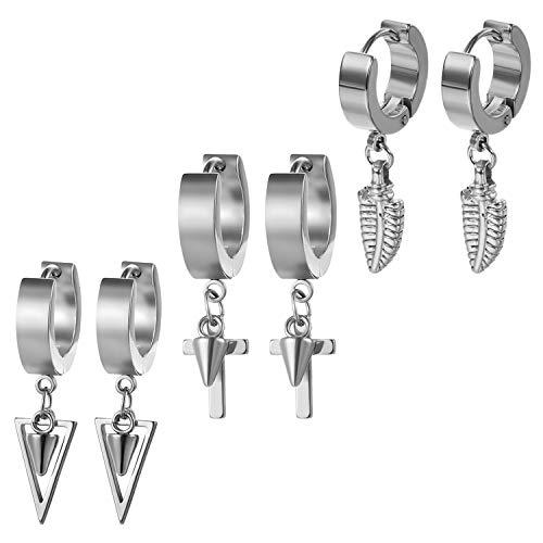 Aroncent 3 pares de pendientes de aro de acero inoxidable con plumas y remaches en forma de cruz para hombres y mujeres