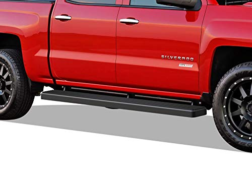 APS iBoard Running Boards (Nerf Bars Steps) Compatible with 2007-2018 Chevy Silverado GMC Sierra & 2019 2500 HD 3500 HD Crew Cab (Exclude 07 Classic)(Include 19 1500 LD) (Black Powder Coated 6in)