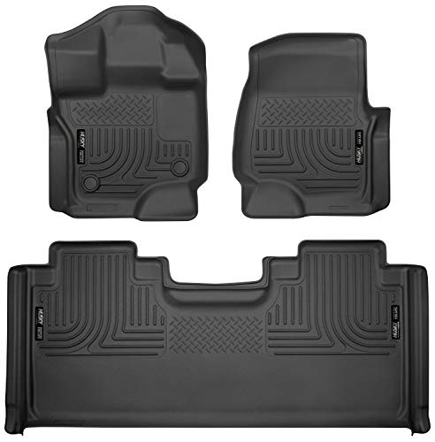 Husky Liners 94051 Black Weatherbeater Front & 2nd Seat Floor Mats Fits 2015-19 Ford F-150 SuperCab
