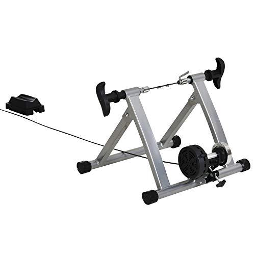 HOMCOM Rollentrainer Fahrradtrainer Fahrrad Heimtrainer Fahrrad Übung Magnetbremse klappbar verstellbar 26