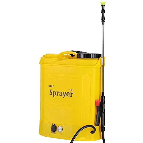 Bakaji - Pulverizador con bomba de hombro a batería recargable, capacidad 16 litros, pulverizador eléctrico con varilla pulverizadora de acero inoxidable, 3 boquillas pulverizadoras y correas.