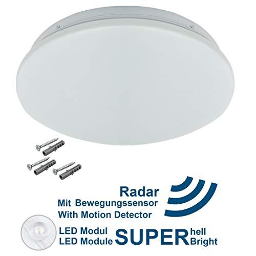 LED Deckenleuchte Deckenlampe mit Bewegungsmelder 12W 1200 Lumen Lampe für Bad Flur Küche Wohnzimmer Balkon Garage Büro Neutralweiß 4000 K Feuchtraumleuchte mit Sensor für Innen IP44 Wasserdicht