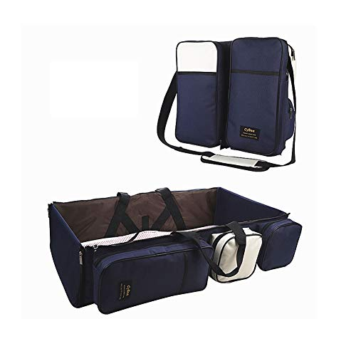 3 in 1 Baby Travel Bag Portable Bassinet Crib Foldable Baby Bed Diaper Bag Changing Station Seat Tummy Time Folding Crib Nursery The Best for New mom and dad (Blue)