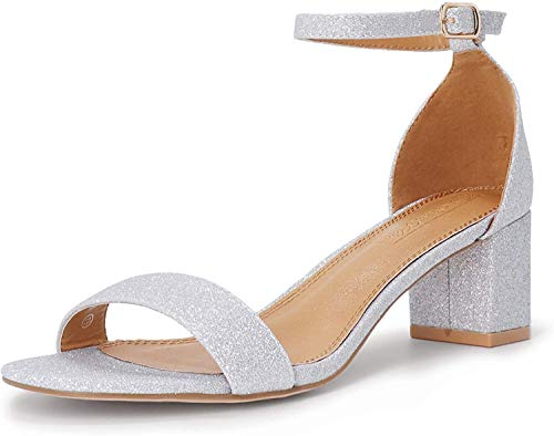 SHOWHOW Women's Block Low Heel Ankle Strap Heeled Sandals Shoes Chunky Dress Office Heels Silver Glitter 5 M US