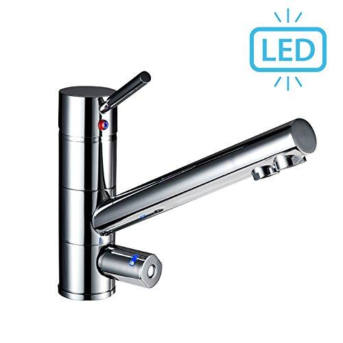 Sonvita 3 Wege Wasserhahn Japura mit LED | Für Wasserfilter und Osmoseanlagen | 3in1 Wasserhahn für gefiltertes Wasser