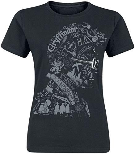 Harry Potter Wordings & Symbols Frauen T-Shirt schwarz L 100% Baumwolle Fan-Merch, Filme, Hogwarts