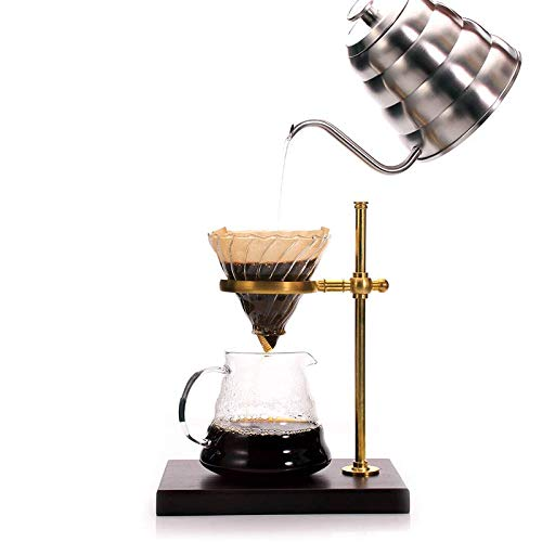 Vintage Style Pour Over Coffee Maker set, Wood and Copper Stand, Glass Pot with lid, Glass Dripper and 1 pack of Paper Filter - Full package of Stand, Dripper, Pot and Filter