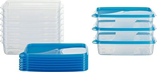 MiraHome Frischhaltedose Gefrierbehälter 0,75l rechteckig flach 18x12x5cm 10er Set blau Austrian Quality
