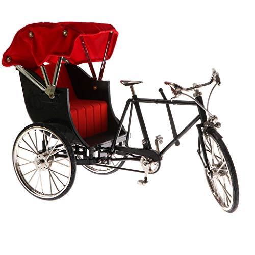 LISAQ Modelo de Bicicleta de Rickshaw en Miniatura Chino, Juguete de Ciclismo, coleccionables, Regalo para niños, decoración Negra del hogar 1/10