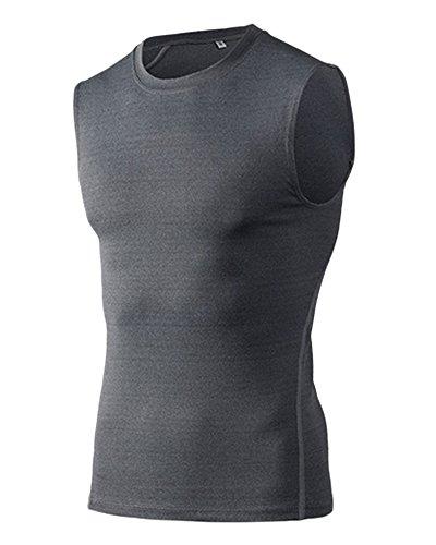 ZongSen Homme sans Manches T-Shirt de Compression Débardeur Tank Sport Cyclisme Running Gris XL