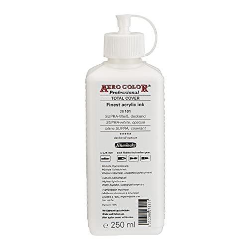 Schmincke - AERO COLOR Professional, SUPRA-Weiß, deckend 250 ml, 28101027, feinst-flüssige, farbstarke Acrylfarbe für Acrylmalerei, Airbrush, Mixed Media, Acryltinte