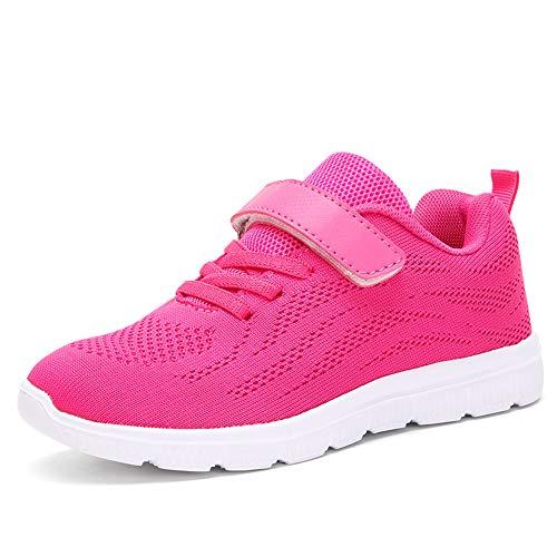 Ork Tree Kinder Sneaker Schuhe Turnschuhe Mädchen Hallenschuhe Jungen Sportschuhe Klettverschluss Kinderschuhe Laufschuhe,Pink,34 EU