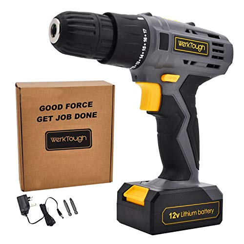 Werktough D018 12V Lithium-Ion Cordless Drill Driver Powerful Screwdriver with Charger and Battery