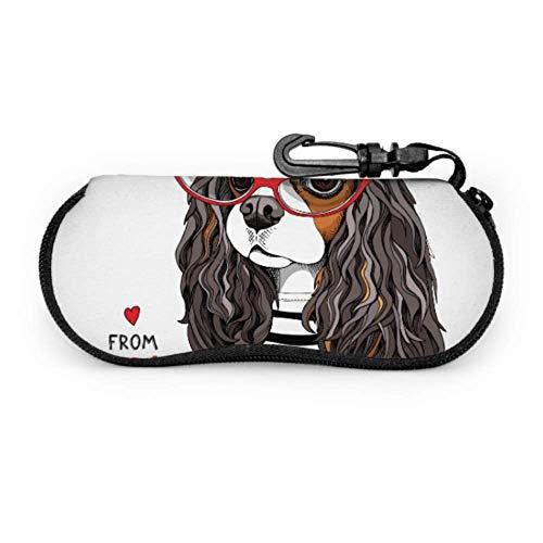Cavalier King Charles Spaniel Funda de anteojos a rayas para perros Mujer Hombre Estuche para gafas de sol Estuche ligero con cremallera portátil Estuche blando para gafas