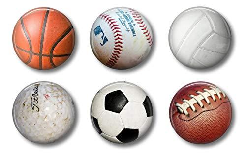 Sports Magnets - Locker Magnets For Boys - Football, Basketball, Soccer, Volleyball, Golf, Baseball