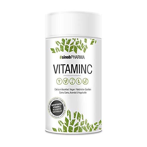 sinob Vitamin C hochdosiert 500 mg reines Vitamin C pro Kapsel 1 x 60 Kapseln - Natürliche Quellen Camu Camu, Acerola, Hagebutte & gepuffert (ph-neutral, säurefrei und magenschonend), 100% Vegan