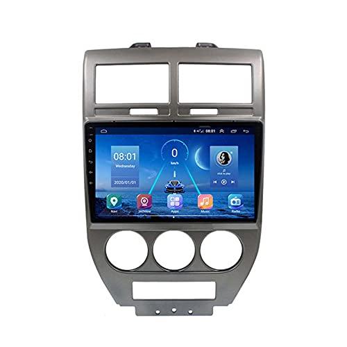 GOHHK para 10 Pulgadas Jeep Compass 2006-2010 Android 9.0 DSP Carplay 4G WiFi 2 DIN SWC Radio GPS Navigation No DVD Coche Multimedia Player(Size:Cuatro nucleos,Color:WiFi:1GB+16GB)