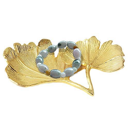 æ— Bandeja de almacenamiento de joyas dorada, con forma de hoja, organizador de joyas para collares, pendientes, pulseras, anillos, accesorios, regalo para mujeres y niñas