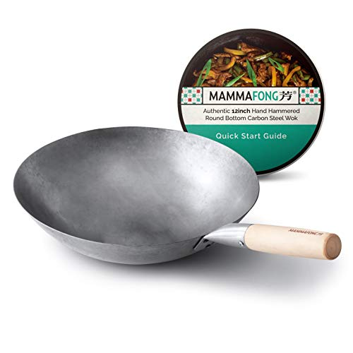 Round Bottom Carbon Steel Wok Pan - Authentic Hand Hammered Woks and Stir Fry Pans - 12-inch Pow Wok for gas stoves by Mammafong…