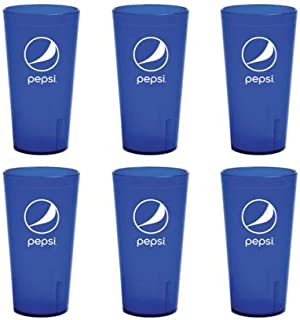 Pepsi Cola Blue Plastic Tumblers Cups 24-Ounce Restaurant Grade Cups, Set of 6