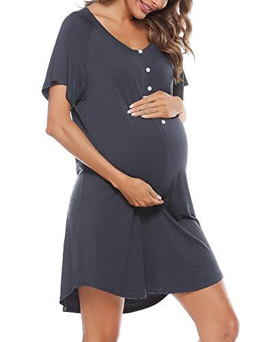 Aibrou Stillnachthemd Damen Kurzarm Nachthemd Stillshirt mit Knopfleiste, Umstandskleid Baumwolle V Ausschnitt Umstandsnachthemd für Schwangere oder Stillende Frauen Stil 1:Dunkelgrau-1 XXL