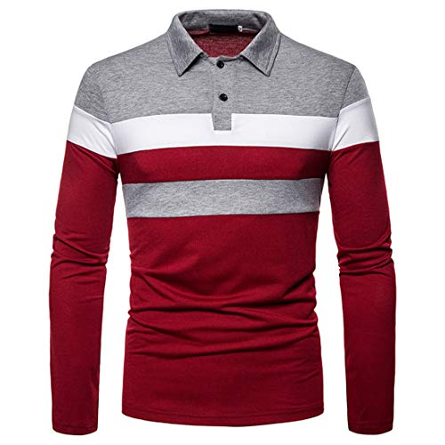 Herren Polo Shirt Herren Casual Business Button Revers Langarm Herren Mode Patchwork...