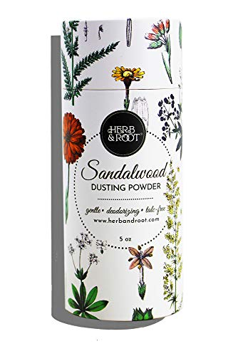 Sandalwood Scented Body Dusting Powder for Men or Women, Talc Free, Prevent Chafing, Bath Powder, Dusting Powder   Herb & Root