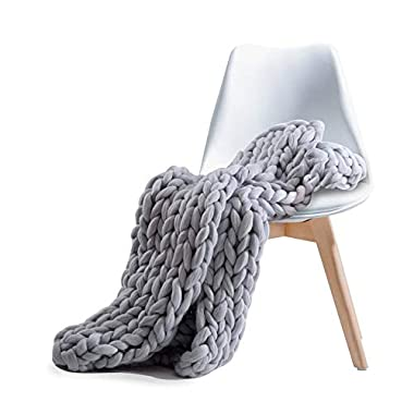 Pawaca Chunky Knit Acrylic Blanket Throw,Hand-Made Bulky Blanket Baby Kid Bed Sofa Soft Throw,Knitting Yarn Super Large Pet Bed Chair Mat Rug King Queen Size Grey 40 x59