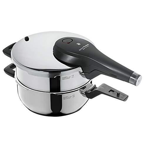 WMF Perfect Premium Schnellkochtopf Set 2-teilig 4,5l + 3,0l, Schnelltopf 22 cm, Cromargan Edelstahl poliert, Induktion, 2 Kochstufen, All-In-One Drehknopf