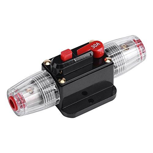 Zerodis Interruptor del Cortacircuitos Car Audio Inline Circuito Fusible Interruptor 20 A ~ 60 A Swtich Fusible Automático DC 12V-24V Interruptor para Protección del Sistema(30A)