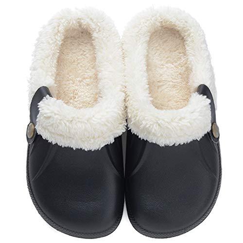 Zkyo Hausschuhe Herren Damen Winter Warme Gefütterte Home Pantoffeln Leicht Rutschfeste Haus Slipper Clogs Schwarz Größe 37-38