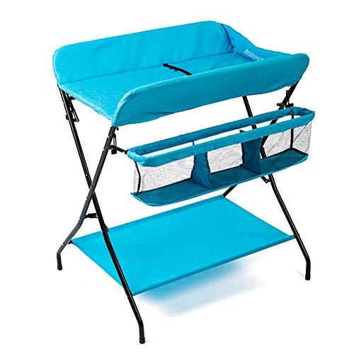 Table à langer for bébé Se Pliant, Nouveau-né Station de Soins des Couches-Culotte Organisateur de pépinière Portable, Style de Jambe croisée (Color : Blue)