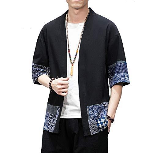 BLFGNCOB - Chaqueta kimono japonesa para hombre (parte frontal abierta), talla grande, siete mangas sueltas Negro Negro 2 XL