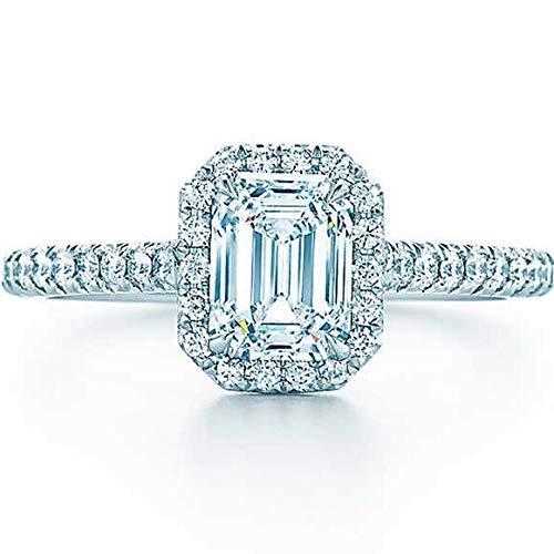 KGHVFUTY Anillo De Mujer Joyas Retro Anillo De Oro Esterlina Anillos De Compromiso De Diamantes Sintéticos 5 A para Mujeres Elegantes Generosos Delicados Anillos Simples