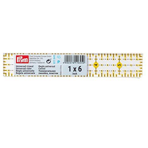 Prym Universal 1 x 6 inch Omnigrid Ruler, Plastic, Transparent